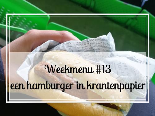 Weekmenu #13 een hamburger in krantenpapier