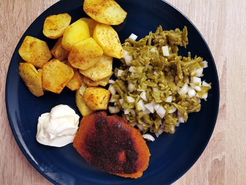 Ons avondeten #5 aardappels, broodje vissticks en cheesy fries
