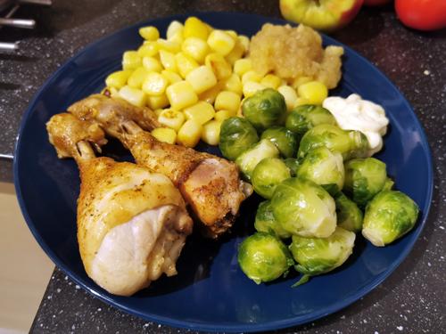 kippenboutjes met krieltjes en spruitjes beenham