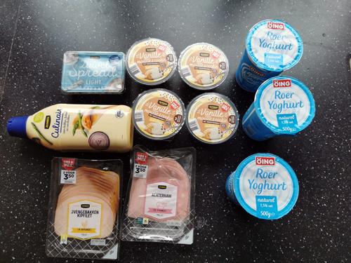 weekboodschappen zuivel broodvlees toetjes